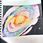 Colorful galaxy drawn on paper photograph
