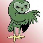 Green owl painted with Photoshop