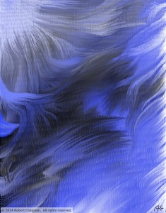 "Blue, black, and white Photoshop painting titled, ""Frozen Notch"""