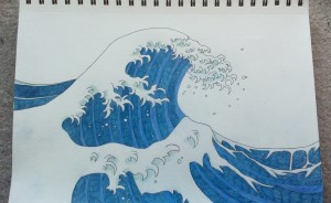 """White Waves"" photo of pencil/pen drawing"
